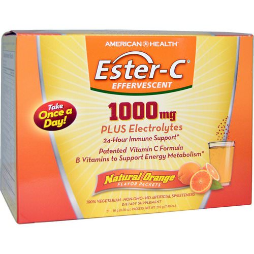 American Health, Ester-C Effervescent, Natural Orange Flavor, 1000 mg, 21 Packets, 0.35 oz (10 g) Each Review