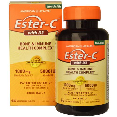American Health, Ester-C with D3, Bone and Immune Health Complex, 1000 mg/5000 IU, 60 Veggie Tabs Review