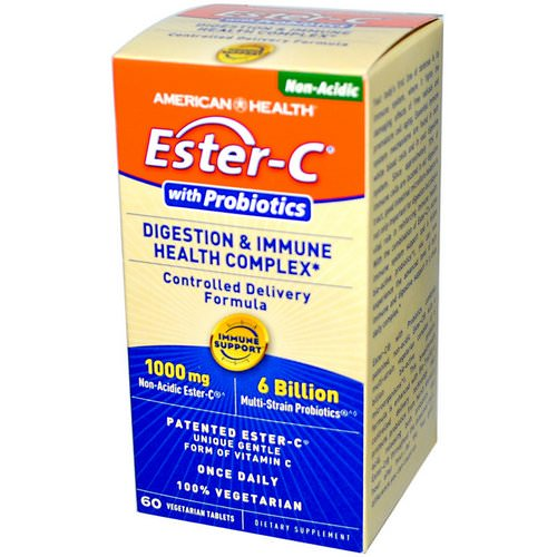 American Health, Ester-C, with Probiotics, Digestion & Immune Health Complex, 60 Veggie Tabs Review