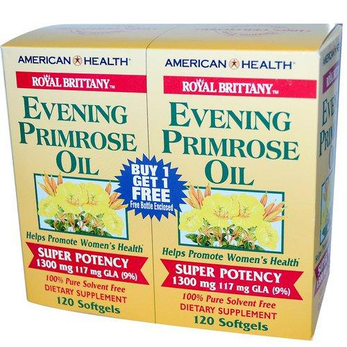 American Health, Royal Brittany, Evening Primrose Oil, 1300 mg, 2 Bottles, 120 Softgels Each Review