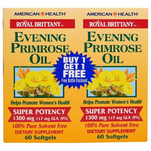 American Health, Royal Brittany, Evening Primrose Oil, 1300 mg, 2 Bottles, 60 Softgels Each Review