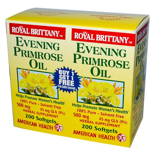 American Health, Royal Brittany, Evening Primrose Oil, 500 mg, 2 Bottles, 200 Softgels Each Review
