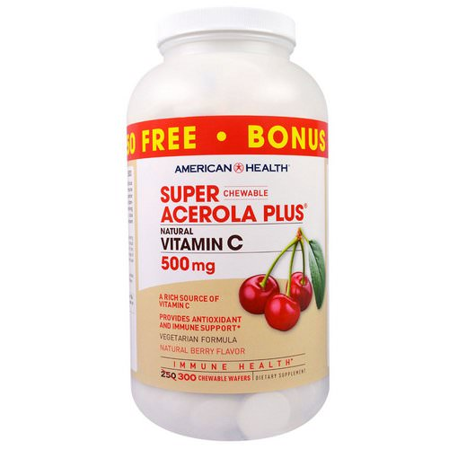 American Health, Super Chewable Acerola Plus, Natural Berry Flavor, 500 mg, 300 Chewable Wafers Review