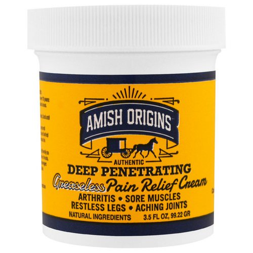 Amish Origins, Deep Penetrating, Greaseless Pain Relief Cream, 3.5 fl oz (99.22 g) Review