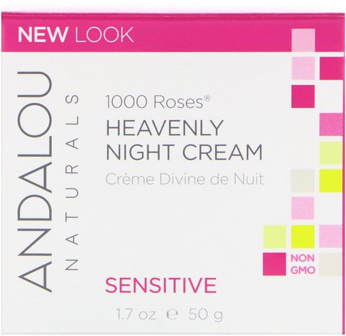Andalou Naturals, 1000 Roses, Heavenly Night Cream, Sensitive, 1.7 fl oz (50 ml) Review