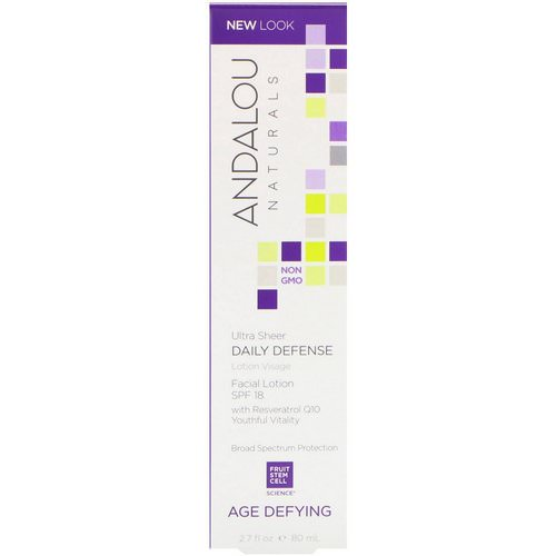 Andalou Naturals, Facial Lotion, Ultra Sheer Daily Defense, SPF 18, Age Defying, 2.7 fl oz (80 ml) Review