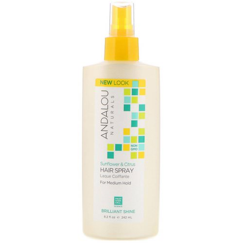 Andalou Naturals, Hair Spray, Brilliant Shine, Sunflower & Citrus, Medium Hold, 8.2 fl oz (242 ml) Review