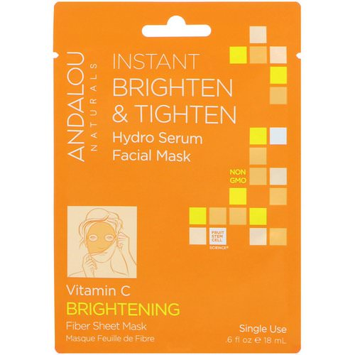 Andalou Naturals, Instant Brighten & Tighten, Hydro Serum Facial Mask, Brightening, 1 Single Use Fiber Sheet Mask, .6 fl oz (18 ml) Review
