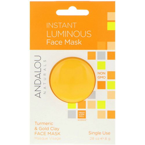Andalou Naturals, Instant Luminous, Turmeric & Gold Clay Face Mask, .28 oz (8 g) Review