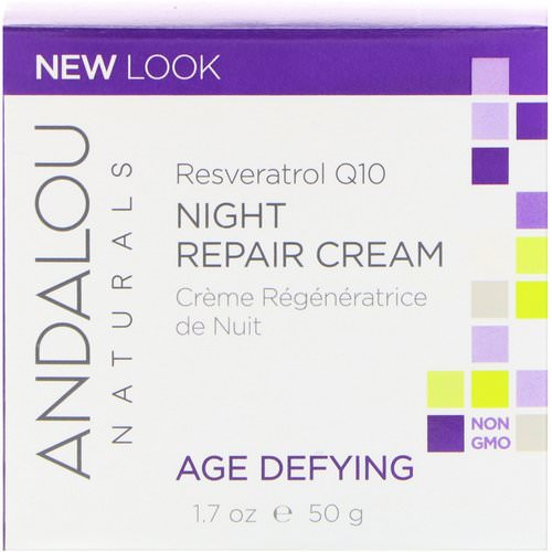 Andalou Naturals, Night Repair Cream, Resveratrol Q10, Age-Defying, 1.7 oz (50 g) Review