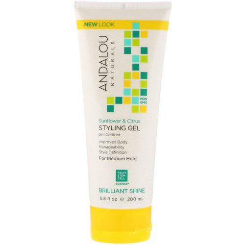 Andalou Naturals, Styling Gel, Brilliant Shine, Medium Hold, Sunflower & Citrus, 6.8 fl oz (200 ml) Review