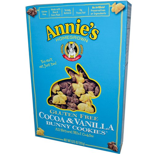 Annie's Homegrown, Gluten Free Bunny Cookies, Cocoa & Vanilla, 6.75 oz (191 g) Review