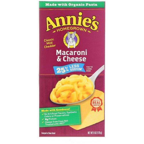 Annie's Homegrown, Macaroni & Cheese, Classic Mild Cheddar, Less Sodium, 6 oz (170 g) Review