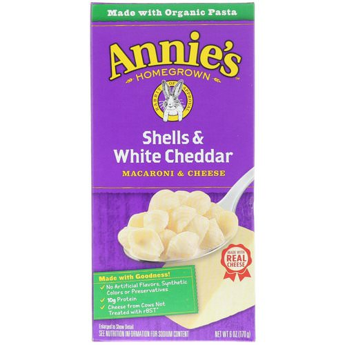 Annie's Homegrown, Macaroni & Cheese, Shells & White Cheddar, 6 oz (170 g) Review