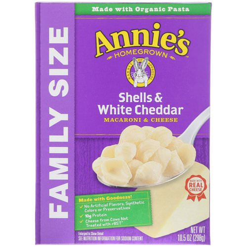 Annie's Homegrown, Macaroni & Cheese, Shells & White Cheddar, Family Size, 10.5 oz (298 g) Review