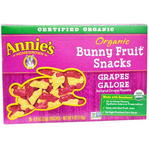 Annie's Homegrown, Organic Bunny Fruit Snacks, Grapes Galore, 5 Pouches, 0.8 oz (23 g) Each Review