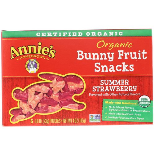 Annie's Homegrown, Organic Bunny Fruit Snacks, Summer Strawberry, 4 oz (115 g) Review