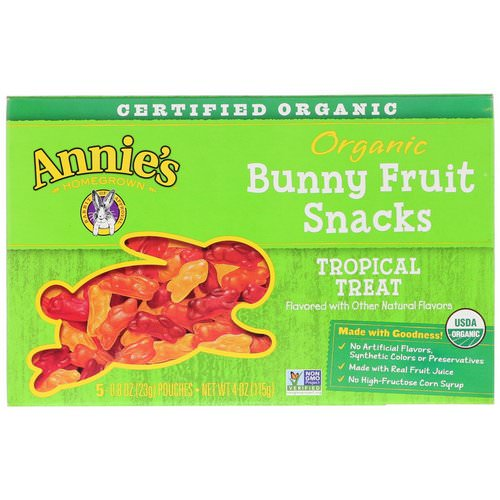 Annie's Homegrown, Organic Bunny Fruit Snacks, Tropical Treat, 5 Pouches, 0.8 oz (23 g) Each Review