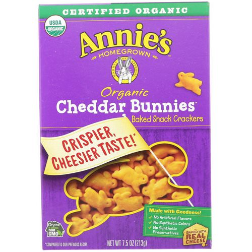 Annie's Homegrown, Organic Cheddar Bunnies, Baked Snack Crackers, 7.5 oz (213 g) Review