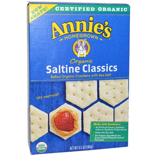 Annie's Homegrown, Saltine Classics, Baked Crackers with Sea Salt, Organic, 6.5 oz (184 g) Review