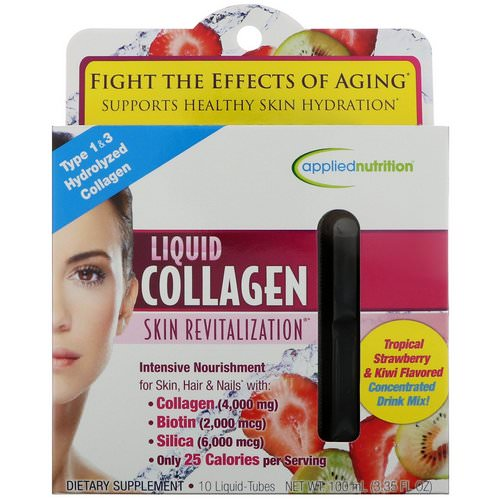 appliednutrition, Liquid Collagen, Skin Revitalization, Tropical Strawberry & Kiwi Flavored, 10 Liquid-Tubes, 10 ml Each Review