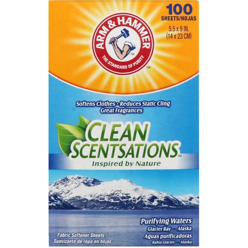Arm & Hammer, Clean Scentsations, Fabric Softener Sheets, Purifying Waters, 100 Sheets Review