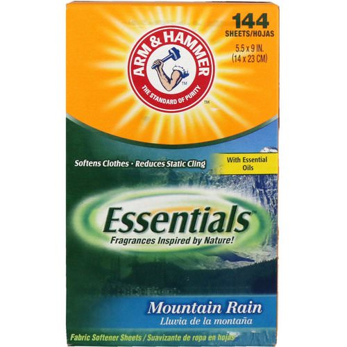 Arm & Hammer, Essentials, Fabric Softener Sheets, Mountain Rain, 144 Sheets Review