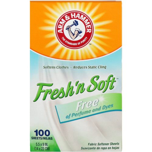 Arm & Hammer, Fresh 'N Soft Fabric Softener Sheets, Free, 100 Sheets Review