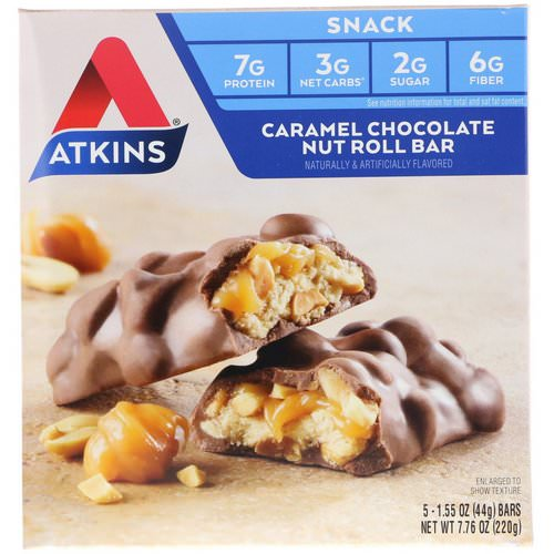 Atkins, Caramel Chocolate Nut Roll Bar, 5 Bars, 1.55 oz (44 g) Each Review