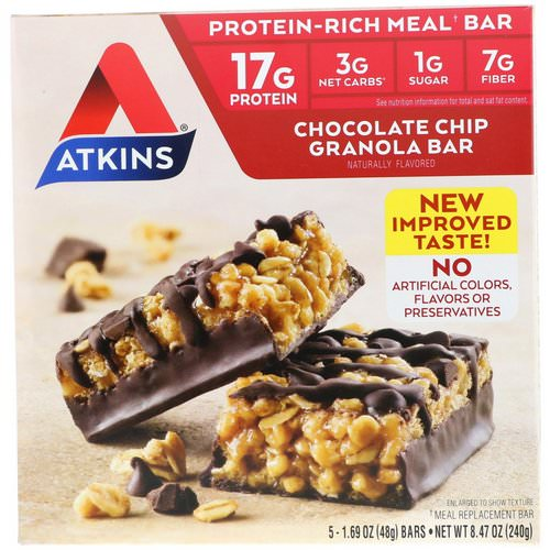 Atkins, Chocolate Chip Granola Bar, 5 Bars, 1.69 oz (48 g) Each Review