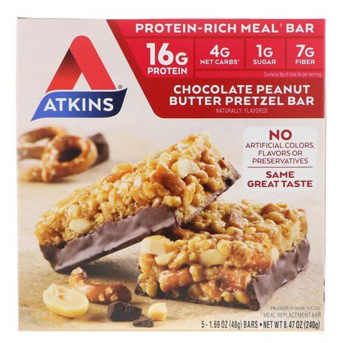 Atkins, Chocolate Peanut Butter Pretzel Bar, 5 Bars, 1.69 oz (48 g) Each Review