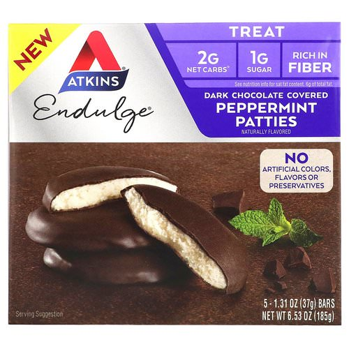 Atkins, Endulge, Dark Chocolate Covered Peppermint Patties, 5 Bars, 1.31 oz (37 g) Each Review