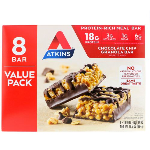 Atkins, Meal Bar, Chocolate Chip Granola Bar, 8 Bars, 1.69 oz (48 g) Each Review