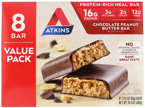 Atkins, Meal Bar, Chocolate Peanut Butter Bar, 8 Bars, 2.12 oz (60 g) Review