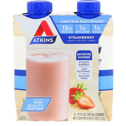 Atkins, Protein-Rich Shake, Strawberry, 4 Shakes, 11 fl oz (325 ml) Each Review