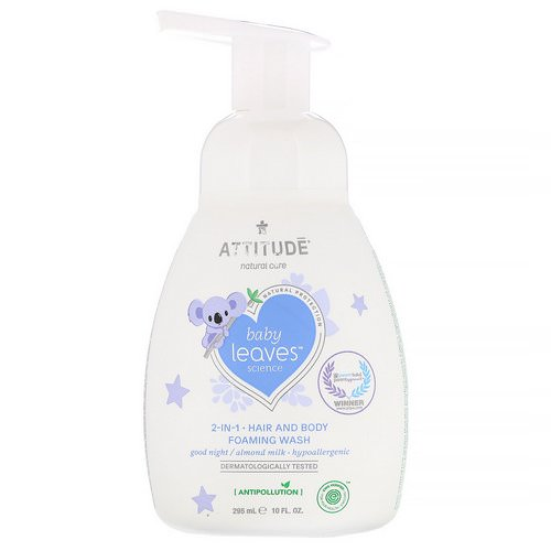 ATTITUDE, Baby Leaves Science, 2-In-1 Hair and Body Foaming Wash, Good Night / Almond Milk, 10 fl oz (295 ml) Review
