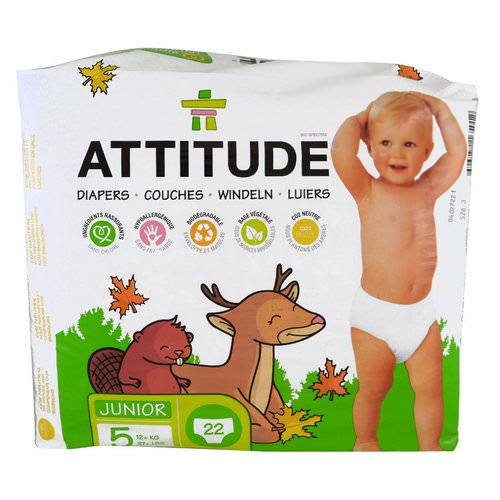 ATTITUDE, Diapers, Junior, Size 5, 27+ lbs (12+ kg), 22 Diapers Review