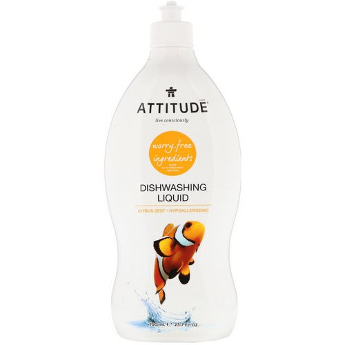 ATTITUDE, Dishwashing Liquid, Citrus Zest, 23.7 fl. oz. (700 ml) Review