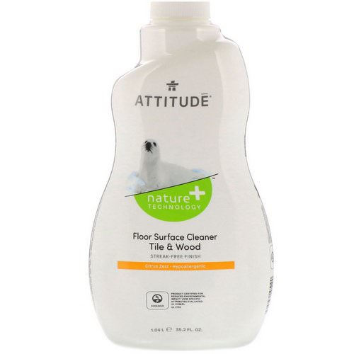 ATTITUDE, Floor Surface Cleaner, For Tile & Wood, Citrus Zest, 35.2 fl oz (1.04 l) Review