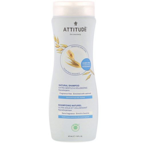 ATTITUDE, Natural Shampoo, Extra Gentle & Volumizing, Fragrance-Free, 16 fl oz (473 ml) Review