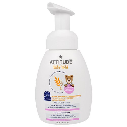 ATTITUDE, Sensitive Skin Care, Baby, Natural Baby Bottle & Dishwashing Foam, 9.9 fl oz (295 ml) Review