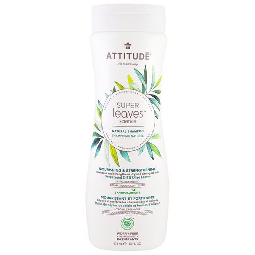 ATTITUDE, Super Leaves Science, Natural Shampoo, Nourishing & Strengthening, Grape Seed Oil & Olive Leaves, 16 oz (473 ml) Review