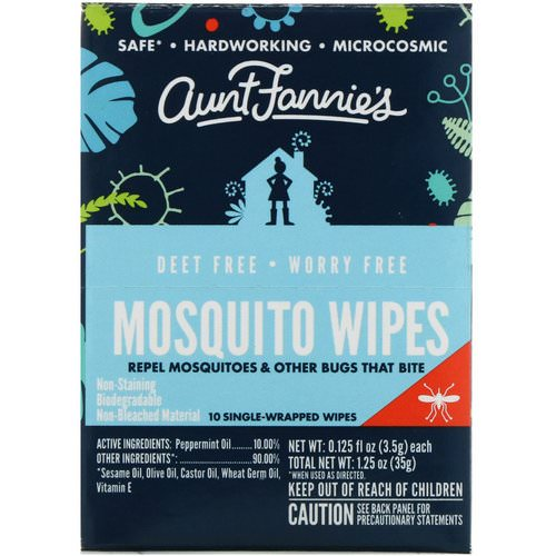Aunt Fannie's, Mosquito Wipes, 10 Single Wrapped Wipes, 0.125 fl oz (3.5 g) Each Review