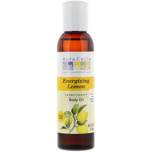Aura Cacia, Aromatherapy Body Oil, Energizing Lemon, 4 fl oz (118 ml) Review