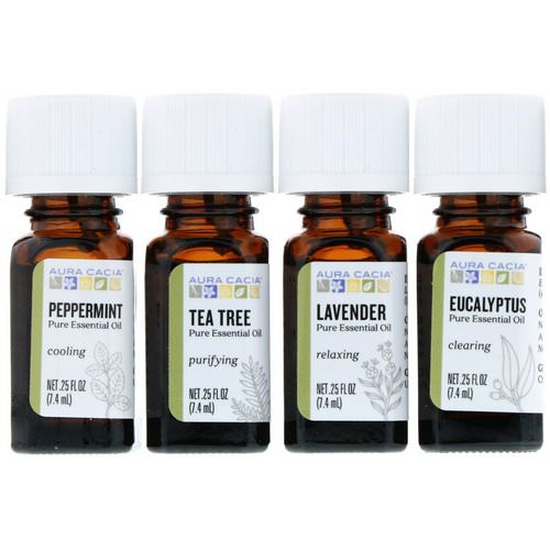 Aura Cacia, Discover Essential Oils Kit, 4 Bottles, .25 fl oz (7.4 ml) Each Review