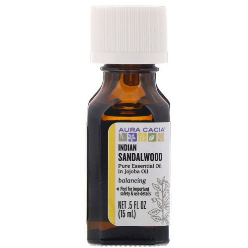 Aura Cacia, Pure Essential Oil In Jojoba Oil, Indian Sandalwood, .5 fl oz (15 ml) Review
