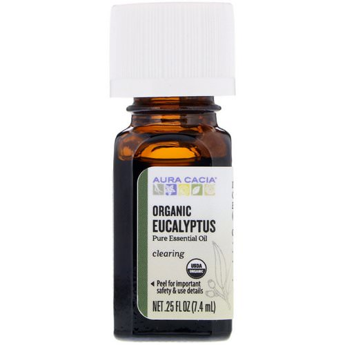 Aura Cacia, Pure Essential Oil, Organic Eucalyptus, 0.25 fl oz (7.4 ml) Review