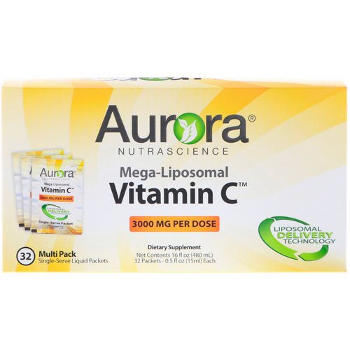 Aurora Nutrascience, Mega-Liposomal Vitamin C, 3000 mg, 32 Single-Serve Liquid Packets, 0.5 fl oz (15 ml) Each Review