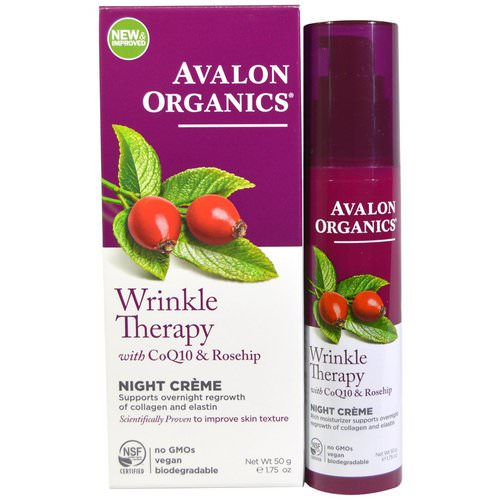Avalon Organics, Wrinkle Therapy, With CoQ10 & Rosehip, Night Creme, 1.75 oz (50 g) Review