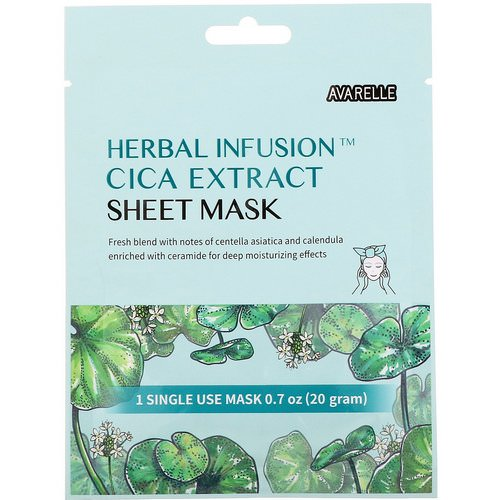 Avarelle, Herbal Infusion, Cica Extract Sheet Mask, 1 Single Use Mask, 0.7 oz (20 g) Review